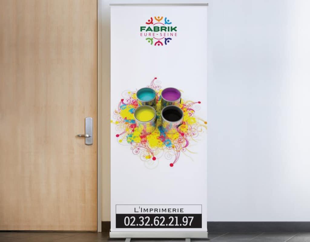 Kakemono dépliant (roll-up) imprimé dans nos ateliers ESAT de Normandie